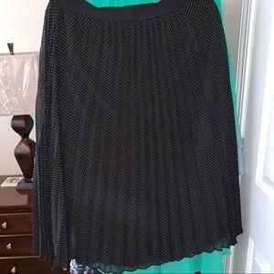 LC Lauren Conrad Pleated Polka Dot Midi Skirt